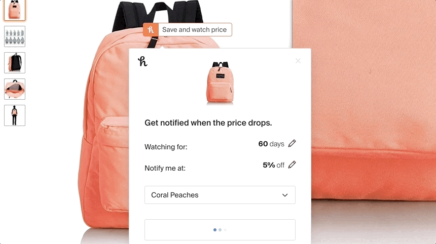 honey will notify you if there is a price drop