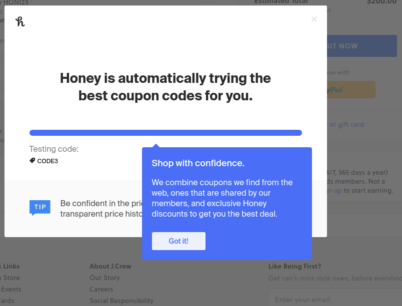 the honey extension testing and applying coupon codes