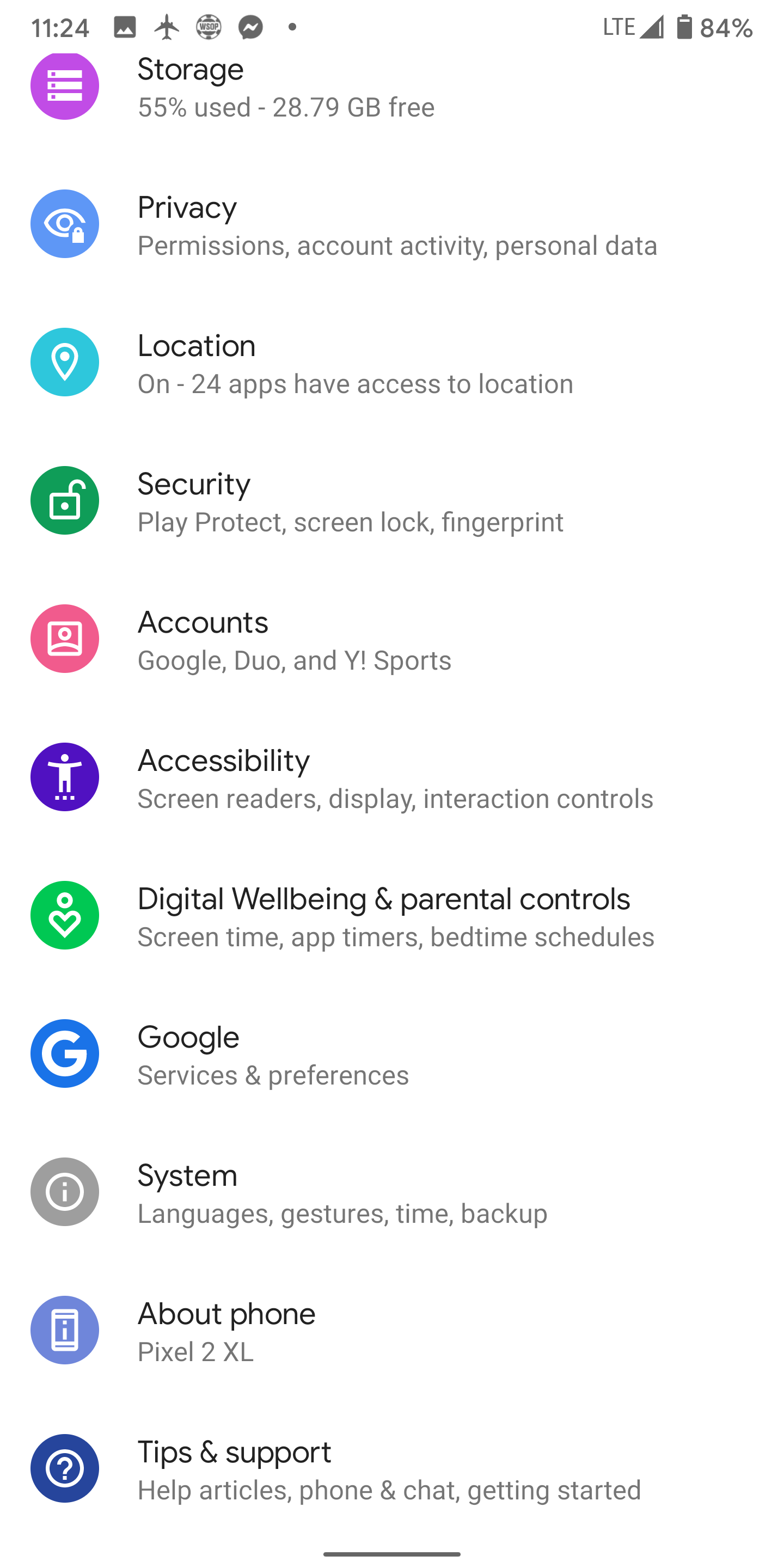Android 10 Settings Menu