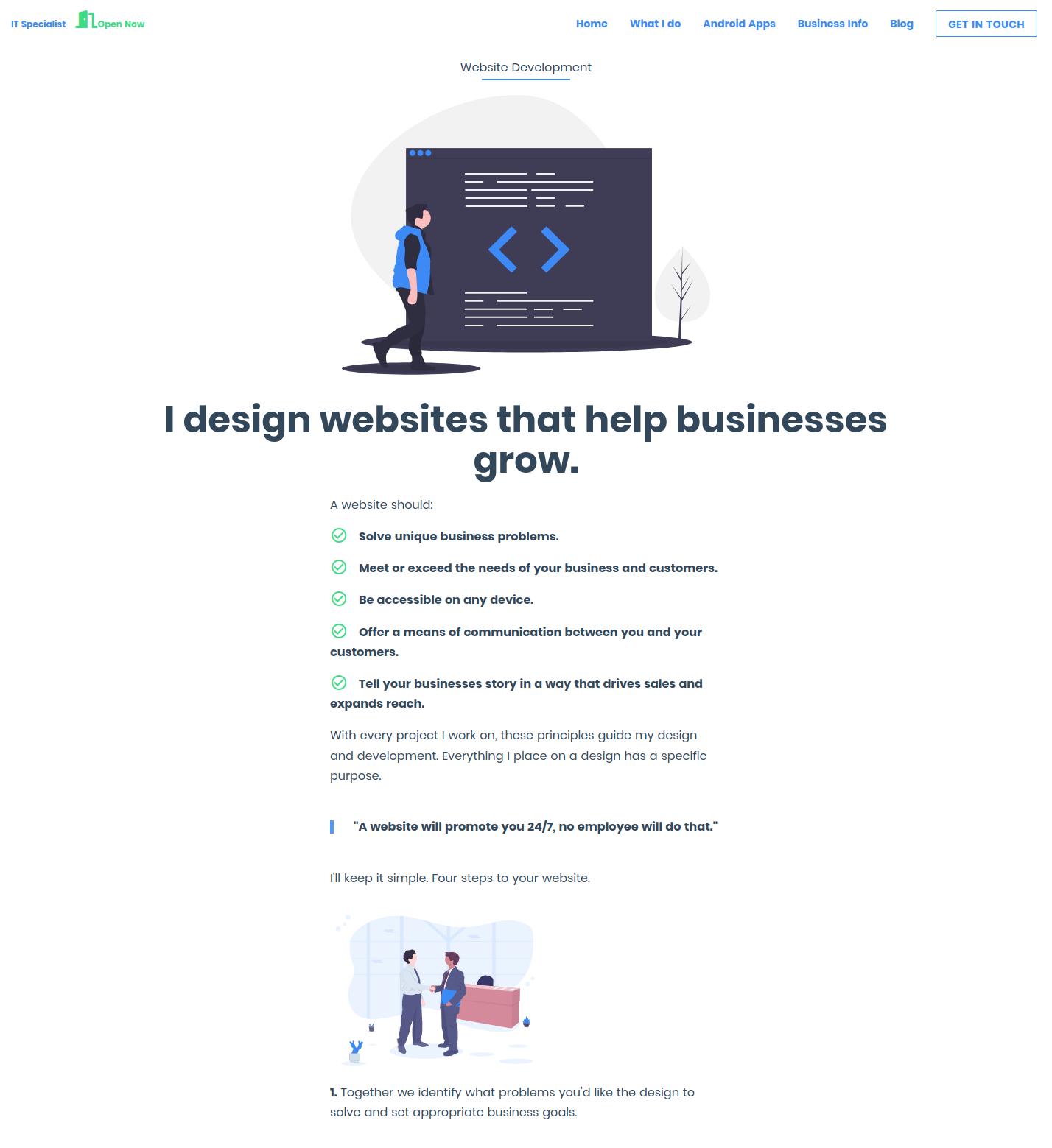 how my website looks on a desktop